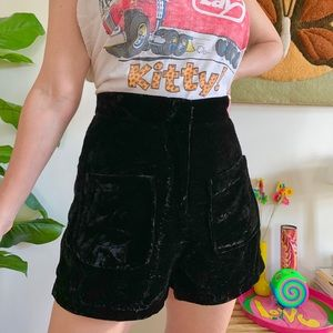 70s style crushed velvet ultra high waisted shorts